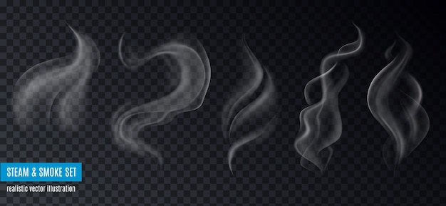 Dampf- und rauchsammlung realistischer bilder auf transparentem hintergrund mit text und fünf verschiedenen formen