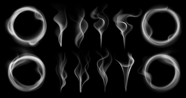 Dampfrauchformen. rauchende dampfströme, dampfender dampfring und durchscheinende realistische 3d-effekt-isolierte menge von dampfwellen