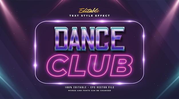 Dance club text im retro-stil mit buntem und neon-effekt