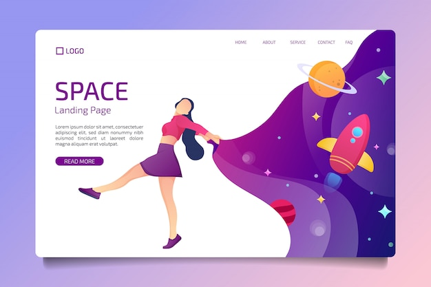 Dance space landing page im flachen design