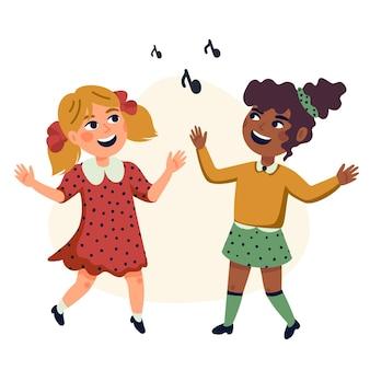 Dancing kids cartoon illustration von glücklichen multikulturellen kindern
