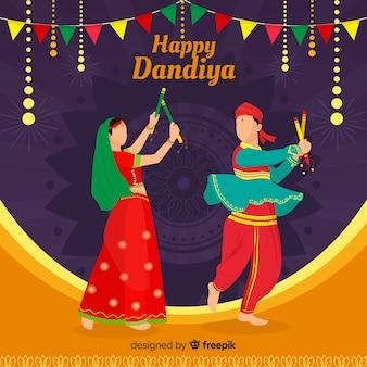 Dandiya flacher hintergrund