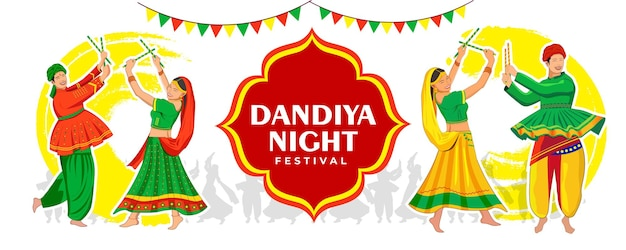 Dandiya nachtfahnenvektorillustration glückliches navratri