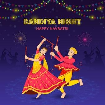 Dandiya night dancing paar bei navratri happy durga puja und navratri