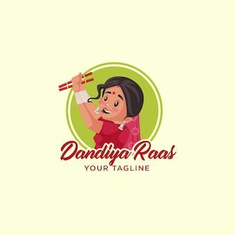 Dandiya raas indisches vektor-maskottchen-logo-vorlage