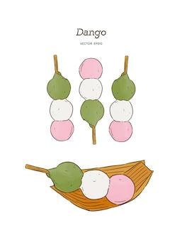 Dango, japanisches dango-dessert mit 3 verschiedenen farben.