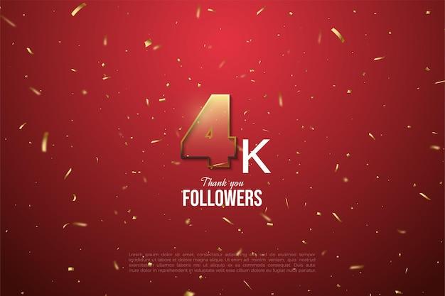 Dank 4k follower gold umrandete transparente figuren