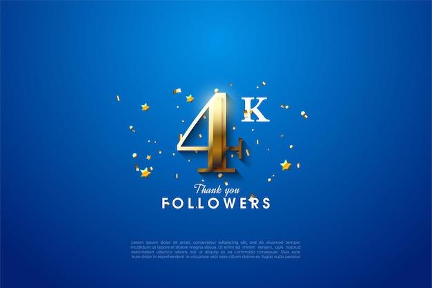 Dank 4k follower mit goldenen zahlen auf blauem hintergrund