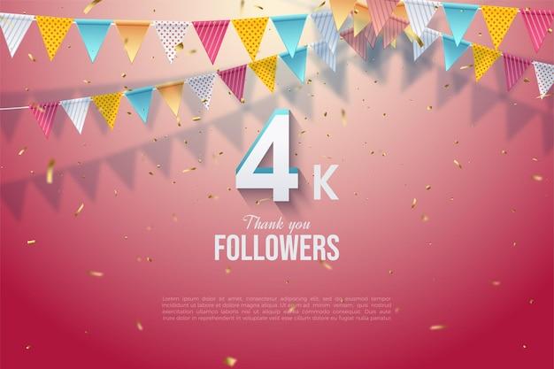 Dank 4k follower-nummern und bunten flaggen