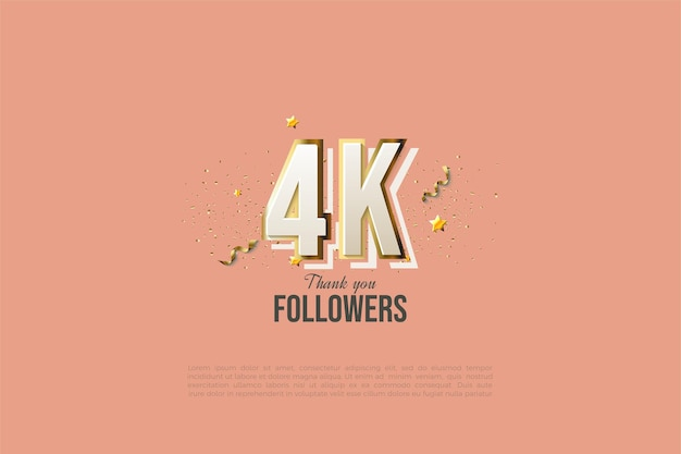 Dank 4k followern mit modernen designnummern