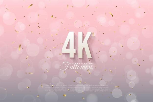 Dank 4k followern mit schattierten 3d-zahlen