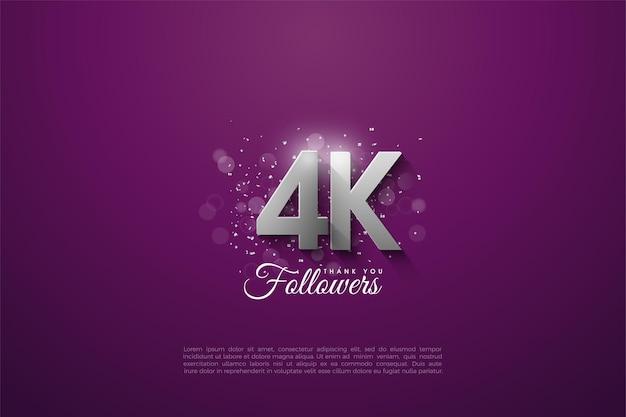Dank 4k followern mit überlappenden silbernen ziffern auf lila hintergrund