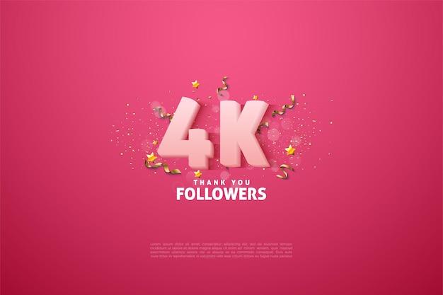 Dank 4k followern mit weichen weißen zahlen