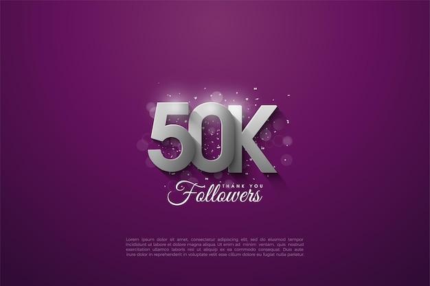 Dank 50.000 followern mit überlappenden 3d-silberzahlen.