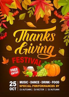 Dank giving festival flyer mit kürbisernte, trauben, honig und äpfeln mit birnen.