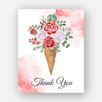 Danke aquarell rose cone template card