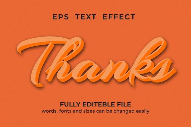Danke bearbeitbarer texteffekt im 3d-stil premium-vektor