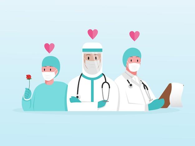 Danke frontline-gruppenarzt und krankenschwester retten patienten vor krankheit