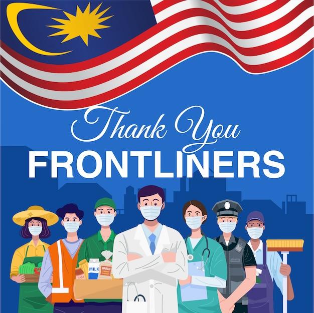 Danke frontliner. verschiedene berufe leute, die mit flagge von malaysia stehen.