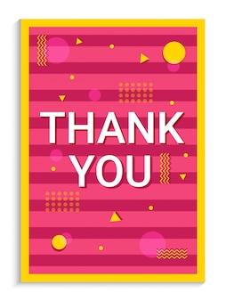 Danke gruß-karten-design auf rosa hintergrund mit goldener zusammenfassung.