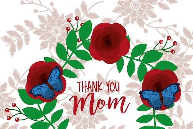 Danke mama karte floral background vintage-stil