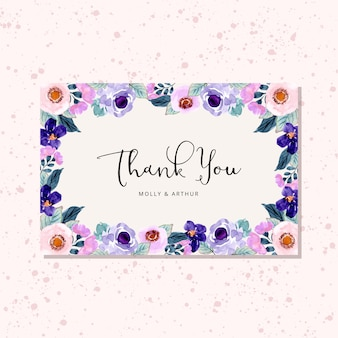 Danke, mit lila blumenaquarellrahmen zu kardieren