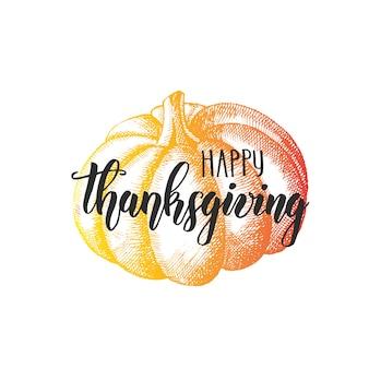 Danken sie mit einem dankbaren herzen - glückliche erntedankfestbeschriftungs-kalligraphiephrase und -kürbis auf weiß