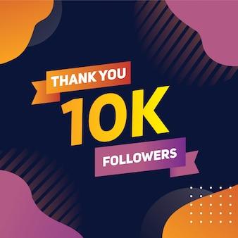 Dankesbanner für zehntausend follower in den orangefarbenen lila farbverläufen der sozialen medien