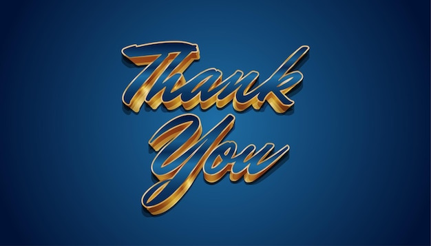 Dankeschön-brieftext in blau und gold isoliert auf blauem hintergrund