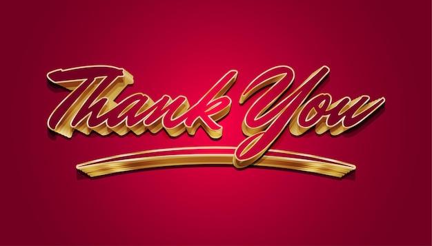 Dankeschön-brieftext in rot und gold isoliert auf rotem hintergrund
