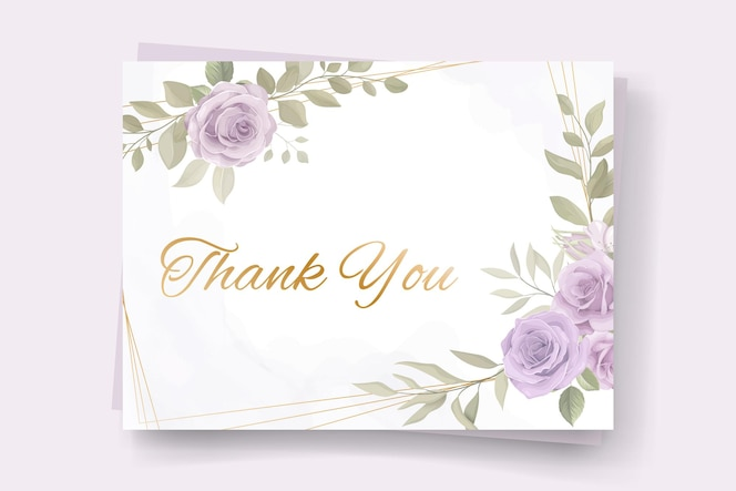 dankeschön-kartendesign mit weichen blumenfarben