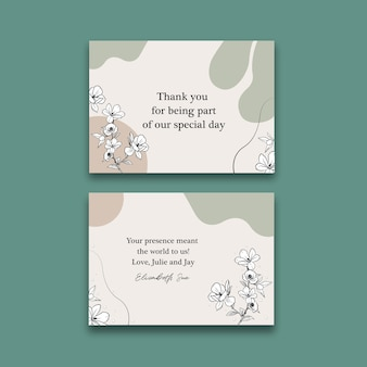 Dankeschön-kartenschablone mit strichgrafikblume
