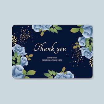 Dankeskarte mit blauem blumenvektorhintergrund