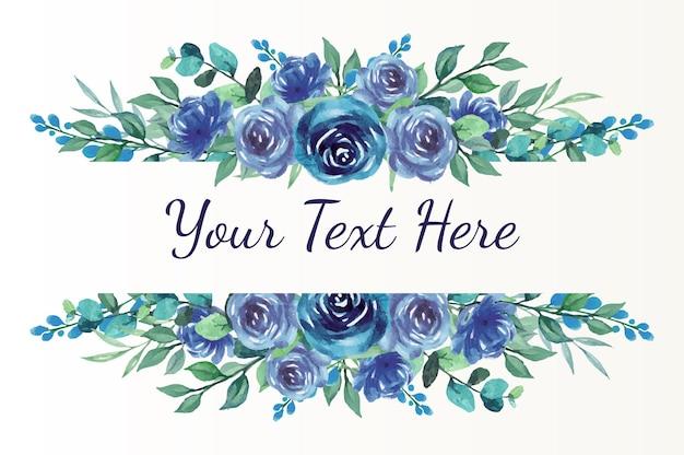 Dankeskarte mit blauem rosenaquarellrand