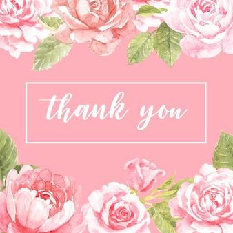 Dankeskarte mit rosa rosenrahmenentwurf