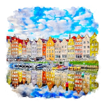 Danzig polen aquarellskizze handgezeichnete illustration