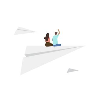 Dargestellte leute, die auf papierflugzeug sitzen