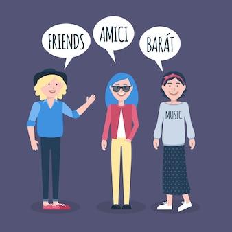 Dargestellte leute, die in den verschiedenen sprachen sprechen