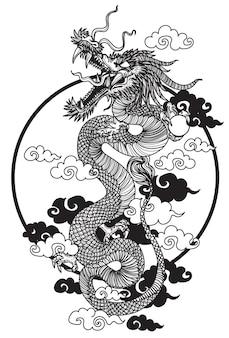Dargon tattoo handzeichnungsskizze schwarz und weiß
