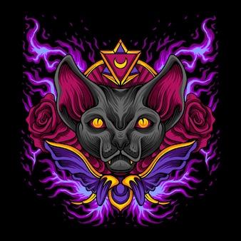 Dark cat rose halloween-logo
