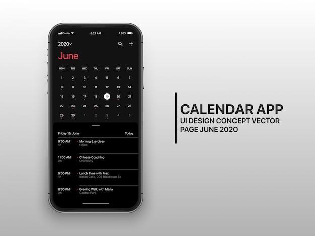 Dark mode kalender app ui ux concept seite juni