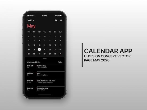 Dark mode kalender app ui ux concept seite mai