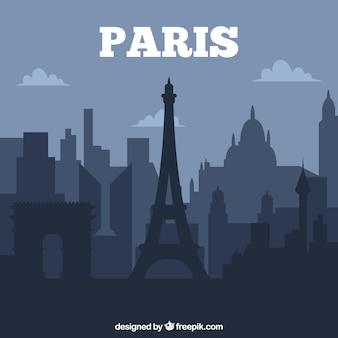 Dark paris skyline design