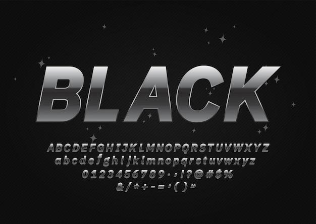 Dark silver font. metallische buchstaben, zahlen und symbole. vektor