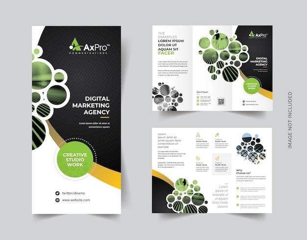 Dark trifold-broschüre mit cricle