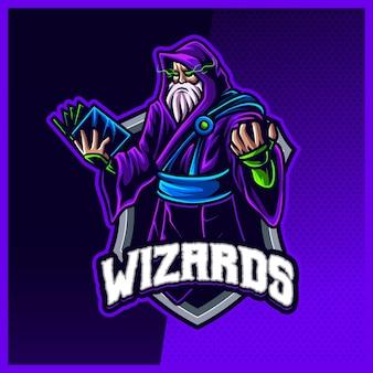 Dark wizard magician maskottchen esport logo design illustrationen vektorvorlage, hexe, magier logo für team game streamer youtuber banner twitch discord, vollfarb-cartoon-stil