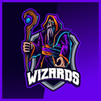Dark wizard magician maskottchen esport logo design illustrationen vektorvorlage, hexe, zauberstab logo für team game streamer youtuber banner twitch discord, vollfarb-cartoon-stil