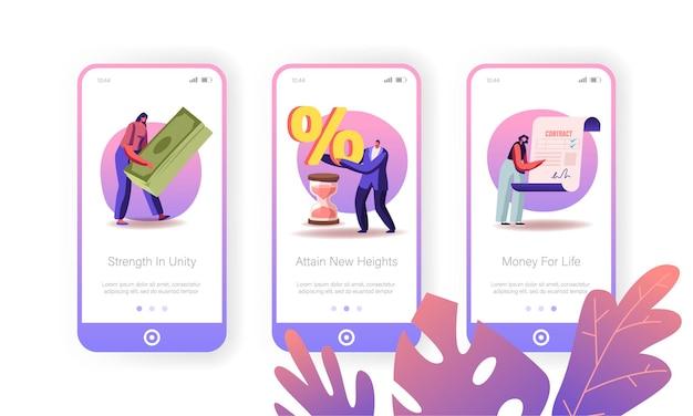 Darlehen mit hohem zinssatz, onboard-bildschirmvorlage für die mobile app-seite der bankdienstleistung.
