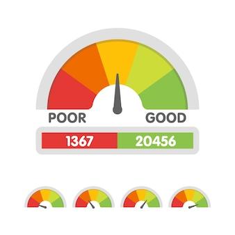Darstellung der kredit-score-anzeige. tacho-symbol im flachen stil. leistungsmesser