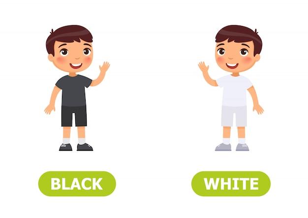 Darstellung von gegensätzen. kleiner junge im schwarzen und in der weißen kleidung. karte für unterrichtshilfe, für ein fremdsprachenlernen
